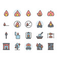 fire related icon and symbol set in color outline vector image vector image