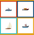 flat icon boat set of tanker ship transport and vector image vector image
