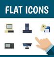 flat icon computer set of processor pc computer vector image vector image