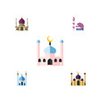 flat icon mosque set of muslim building vector image vector image