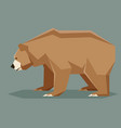 flat polygonal brown bear vector image