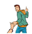 follow me young man leads a girl isolate on vector image