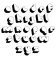 Futuristic black and white 3d font vector image vector image