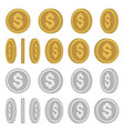 gold and silver coins with different rotation vector image vector image