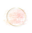gold circle frame with pastel nude pink texture vector image