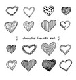hand-drawn doodle hearts set isolated on white vector image vector image