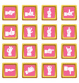 hand gesture icons pink vector image vector image