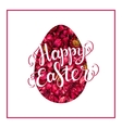 Happy Easter lettering on red flower egg vector image