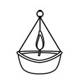 hindu religion candle line style icon vector image vector image