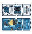 ice hockey cup game tickets vector image vector image