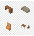 isometric furniture set of chair couch table and vector image vector image