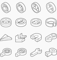 Isometric outline icons 3D pictograms vector image vector image