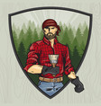 lumberjack with a brush manual rendering style vector image