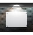 metallic plate on the perforated wall vector image vector image