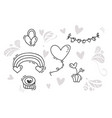monoline valentines day hand drawn elements vector image