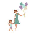 mother and daughter walking to the party vector image