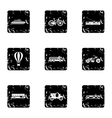 Movement on machine icons set grunge style vector image vector image