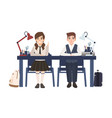 pair of school boy and girl in uniform sitting at vector image vector image