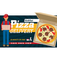 pizza box advertisement banner pizza box delivery vector image vector image