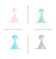 radio tower hand drawn icons set vector image