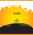 religious banner with three crosses on hill vector image vector image