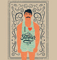 retro swimmer calligraphic summer grunge poster vector image vector image