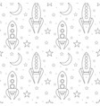 seamless pattern with contour spacecraft stars vector image