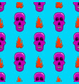 seamless pattern with skull and flame vector image