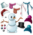 set attributes winter and christmas vector image vector image