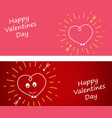 set banner with heart on a dark red and pin vector image vector image