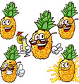 set cartoon character - Happy pineapple vector image vector image