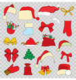 Set doodle Christmas objects vector image vector image