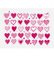 set hand drawn pink doodle sketch hearts vector image vector image