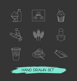 set of food icons line style symbols with apron vector image vector image