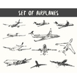 Set of hand drawn airplanes vector image vector image