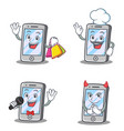 set of iphone character with shopping chef devil vector image vector image