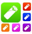 shawarma sandwich set color collection vector image vector image