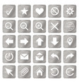 silver colored metal chrome web icons set vector image vector image