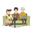 Sitting Females on Couch with Gadgets vector image vector image