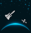 space rocket launch cosmos starry background with vector image