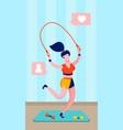 sportswoman jumping rope flat vector image vector image