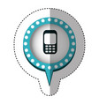 sticker with cell phone in circular speech with vector image vector image