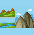 three mountain scenes with river and field vector image vector image