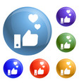 thumb up heart icons set vector image