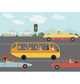 Trafic car silhouette bus vector image