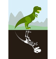 Tyrannosaurus in nature Skeleton in ground soil vector image
