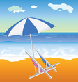 umbrella with chair on the beach vector image