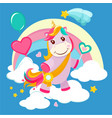 unicorn background fairy tale cute little horse vector image
