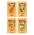 vegetables card set vector image vector image