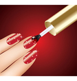 woman applying red nail polish on fingers vector image vector image
